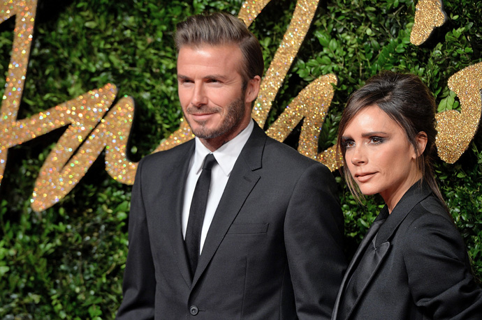 LONDON, ENGLAND - NOVEMBER 23:  David Beckham and Victoria Beckham attend the British Fashion Awards 2015 at London Coliseum on November 23, 2015 in London, England.  (Photo by Anthony Harvey/Getty Images)
