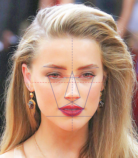 Amer Heard Face Map. Johnny Depp's estranged wife Amber Heard has the most beautiful face in the world, according to the latest scientific facial mapping research that incorporated the ancient Greek beauty ratio Phi. Amber Heard's face was found to be 91.85% accurate to the Greek Golden Ratio of Beauty. Computer mapping technology then created a picture of the most perfect female face taken from Amber Heard's nose, Kim Kardashian's eyebrows, Scarlett Johansson's eyes, Rihanna's face shape, Emily Ratajkowski's lips and Kate Moss' forehead.